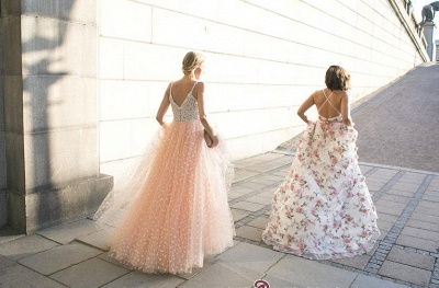 Elegant Straps Sleeveless 2020 Evening Dress Long Tulle Party Dress With Appliques_3