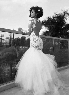 Delicate Long Sleeve Tulle Mermaid Wedding Dress With Appliques_1