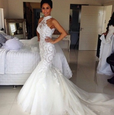 Delicate Halter Tulle Mermaid Wedding Dress With Lace Appliques_2