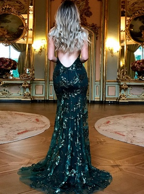 Green Sequins Prom Dress | 2020 Mermaid Evening Gowns Backless_3