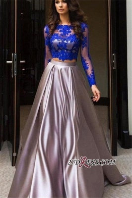 Long-Sleeves Two-Pieces Excellent A-line Bateau Evening Dresses_2