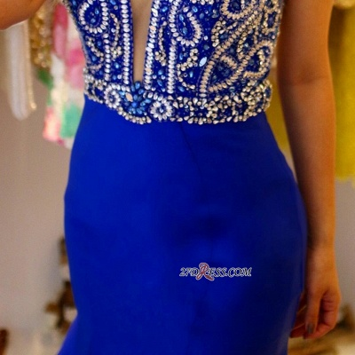 Royal blue evening dress, beadings prom dress online_2