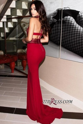 Halter Charming Backless Mermaid Appliques Evening Dresses BC2263_2