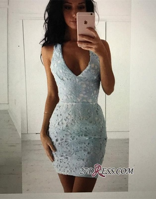 Straps Bodycon Modest Sleeveless Lace Short Homecoming Dress_4