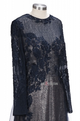 Lace-Appliques Black Long-sleeve Modern Scoop Evening Dress_2