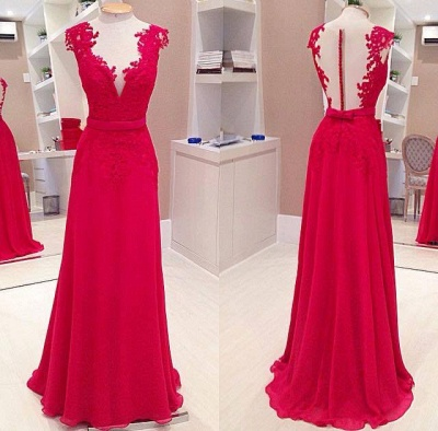 Sexy Red Deep V-Neck Prom Dresses Sleeveless Chiffon Evening Dresses with Bowknot_2