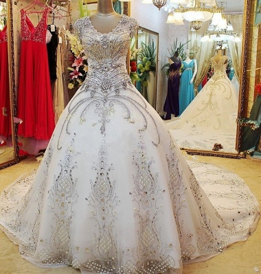 Luxurious White Crystal Ball Gown Wedding Dresses Court Train Foraml Sparkling Bridal Gowns with Beadings_2