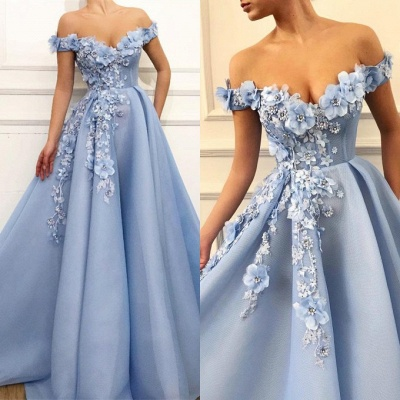 Gorgeous Off-the-Shoulder Blue Prom Dresses | 2020 Flowers Long Evening Gowns_4