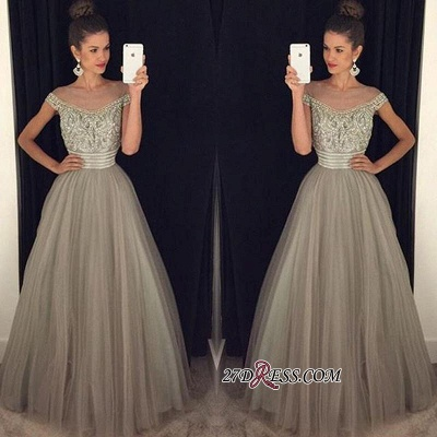 Beadings Tulle Long A-Line Glamorous Crystal Prom Dress_1
