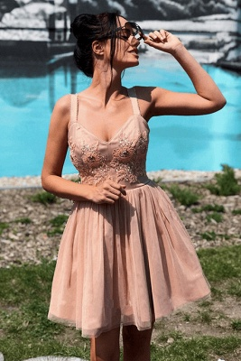 Delicate Crystals Lace Straps Homecoming Dress   A-line Short Formal Dress_2