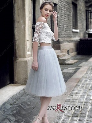 Off-the-Shoulder Sexy Knee-Length Tulle Lace Homecoming Dress_2