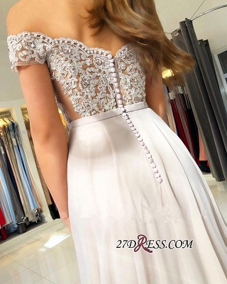 Elegant Chiffon Long Prom Dress | 2020 Off-the-Shoulder Lace-Appliques Evening Dress_2