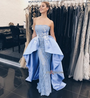 Glamorous Strapless Over-Skirt Lace-Appliques Mermaid Prom Dresses_2