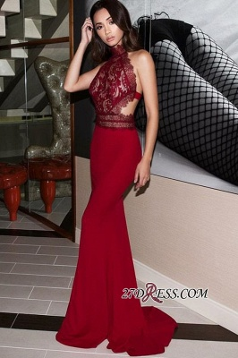 Halter Charming Backless Mermaid Appliques Evening Dresses BC2263_3