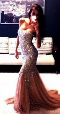 Champagne New Gorgeous Mermaid Strapless Prom Dresses Sleeveless Beadings Evening Gowns With Ruffles_2