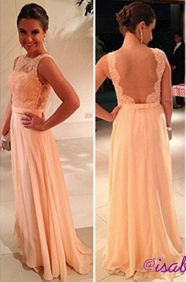 fashion long Vestido De Dama wedding party dresses 2020 peach nude back chiffon lace prom gowns_1