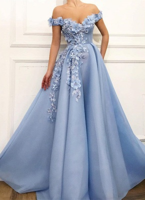 Gorgeous Off-the-Shoulder Blue Prom Dresses | 2020 Flowers Long Evening Gowns_1