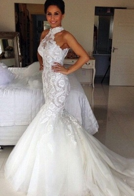 Delicate Halter Tulle Mermaid Wedding Dress With Lace Appliques_1