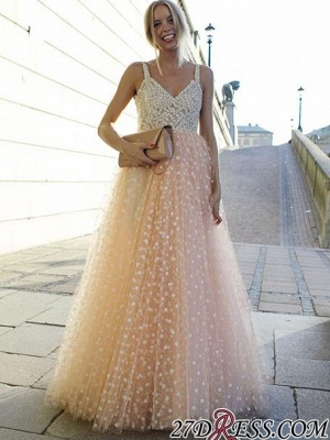 Elegant Straps Sleeveless 2020 Evening Dress Long Tulle Party Dress With Appliques_4