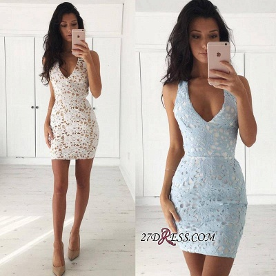Straps Bodycon Modest Sleeveless Lace Short Homecoming Dress_3