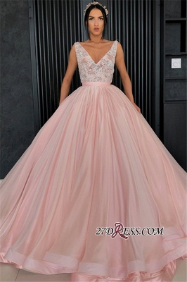 Chic Lace Appliques Ball Gown Prom Dresses | V-Neck Sleeveless Evening Dresses_2