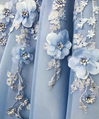 Gorgeous Off-the-Shoulder Blue Prom Dresses | 2020 Flowers Long Evening Gowns_3