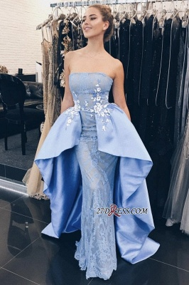 Glamorous Strapless Over-Skirt Lace-Appliques Mermaid Prom Dresses_1