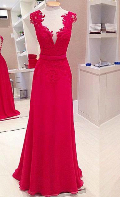 Sexy Red Deep V-Neck Prom Dresses Sleeveless Chiffon Evening Dresses with Bowknot_1