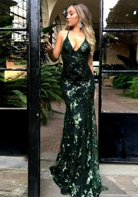 Green Sequins Prom Dress | 2020 Mermaid Evening Gowns Backless_1