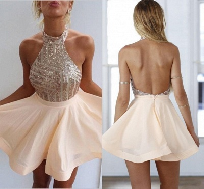 Stunning Sequins Halter Homecoming Dress 2020 A-Line Party Gowns BA3349_5