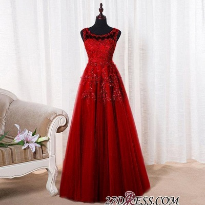 2020 Bateau-Neck Lace Red A-line Beaded Long Party Dresses_13