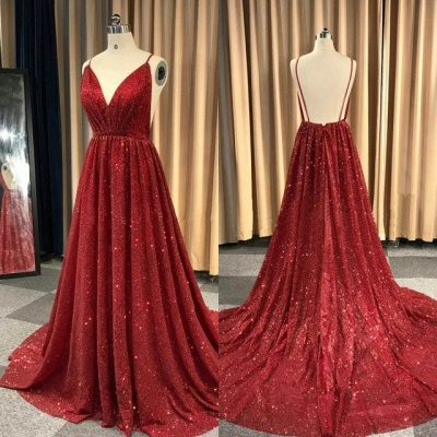 Sexy Red Sequins Prom Dresses | 2020 V-Neck Spaghetti Straps Long Evening Gowns BC1493_2