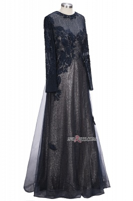Lace-Appliques Black Long-sleeve Modern Scoop Evening Dress_4