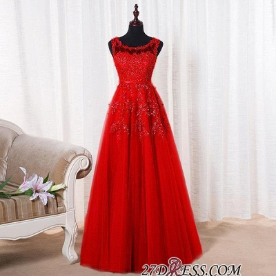 2020 Bateau-Neck Lace Red A-line Beaded Long Party Dresses_12