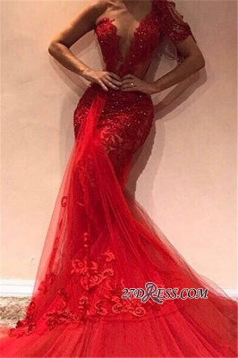 Glamorous One-shoulder Appliques Mermaid Party Dresses | Sexy Red Sequins Tulle Asymmetrical Prom Dresses BC1913_2
