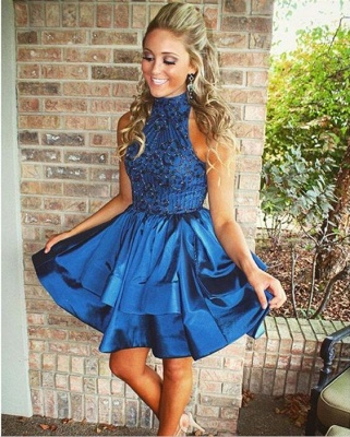 Gorgeous Green Sleeveless Short Prom Dress 2020 Beadings Mini Homecoming Gown HT102_5