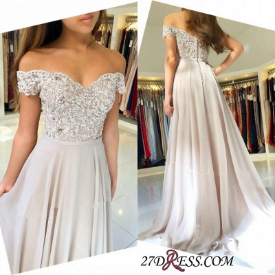 Elegant Chiffon Long Prom Dress | 2020 Off-the-Shoulder Lace-Appliques Evening Dress_3