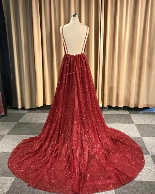Sexy Red Sequins Prom Dresses | 2020 V-Neck Spaghetti Straps Long Evening Gowns BC1493_3
