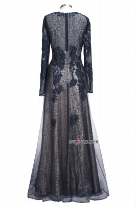 Lace-Appliques Black Long-sleeve Modern Scoop Evening Dress_5