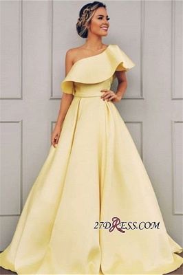 Petal One-Shoulder Gorgeous Ribbon Sleeves Prom Gowns_2