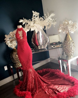 Glamorous Red High-Neck Lace Prom Dress | 2020 Mermaid Feather Evening Gowns_2
