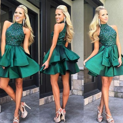 Gorgeous Green Sleeveless Short Prom Dress 2020 Beadings Mini Homecoming Gown HT102_3