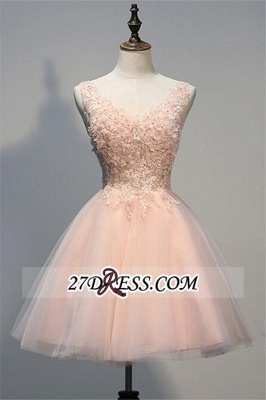 Appliques V-Neck Short Crystal A-line Sleeveless Tulle Homecoming Dress_2
