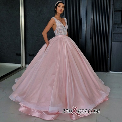 Chic Lace Appliques Ball Gown Prom Dresses | V-Neck Sleeveless Evening Dresses_1