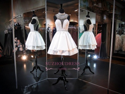 2020 Delicate High-Neck Sleeveless A-line Beads Mini Homecoming Dress_1