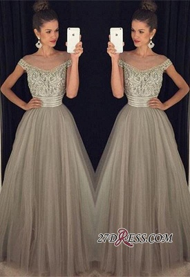 Beadings Tulle Long A-Line Glamorous Crystal Prom Dress_2