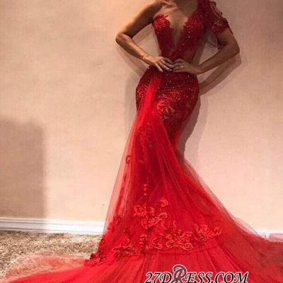 Glamorous One-shoulder Appliques Mermaid Party Dresses | Sexy Red Sequins Tulle Asymmetrical Prom Dresses BC1913_1