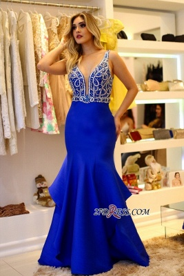 Royal blue evening dress, beadings prom dress online_3
