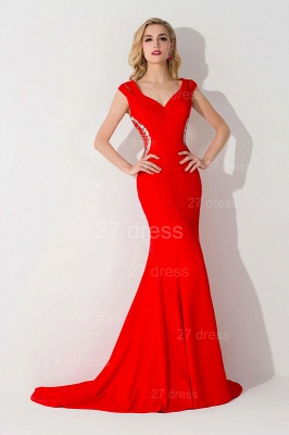Sexy Red Mermaid Sweep Train Evening Dress Straps Beadings_2