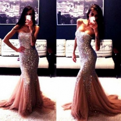 Champagne New Gorgeous Mermaid Strapless Prom Dresses Sleeveless Beadings Evening Gowns With Ruffles_1